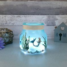 Mermaid Jar Little Girls Night Light Glass Art by Love4Lemons
