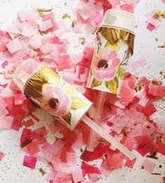 Watercolor Flower Confetti Pops, Set of 10 by The Posie Project on Scoutmob Wedding Color Schemes, Wedding Colors, Hot Pink Weddings, Spring Weddings, Chic Wedding, Wedding Ideas, Bridal Sets, Bridal Looks, Watercolor Flowers