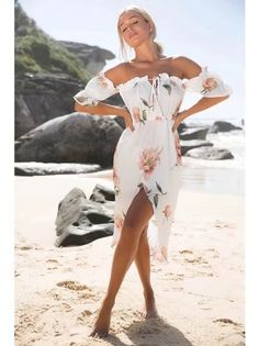 White Off Shoulder Floral Print Wrap Midi Dress Sexy Maxi Dress, Chiffon Dress, Sexy Dresses, Cute Dresses, Floral Dresses, Cheap Dresses, Boho Dress, Prom Dresses, Robes Midi