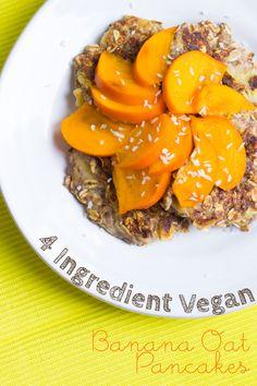 4 Ingredient Vegan Banana Oat Pancakes | Quick, simple & easy! | KLEAN KUISINE