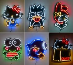 Sanrio characters neon lights