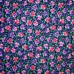 Purple Floral Print Fabric, Quilting Cotton, VIP Cranston, Pink Green Black, Violets, half yard, B10 by DartingDogFabric on Etsy