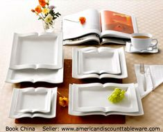 BOOK plates, bowls & platters (sold by the dozen) via American Discount Tableware. Okay this may be a bit overboard but it is definitely in the book decor motif -pfb :-)  ... HOW TO FIND the ORIGINAL WEB SITE of an image: pinterest.com/... ATTRIBUTION & COPYRIGHT LAW REQUIREMENTS: pinterest.com/... The Golden Rule: pinterest.com/...