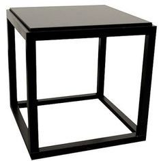 End Table: Ore International Stackable Cubic Table - Black