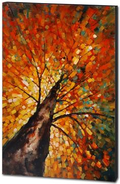 Autumn Rising - Contemporary / Abstract - Mercana Art Decor & Home Furnishings by VenusV Autumn Painting, Autumn Art, Fall Paintings, Tree Paintings, Autumn Leaves, Abstract Tree Painting, Abstract Art, Dot Painting, Autumn Trees