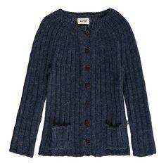 Oeuf NYC Alpaca Wool Rib Baby Caridgan Indigo blue