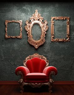 rich red, deep green with gold embellishments on the baroque chair and intricate empty picture frames
