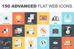 150 Advanced Flat Web Icons by vasabii on @creativemarket