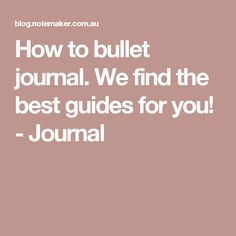 How to bullet journa