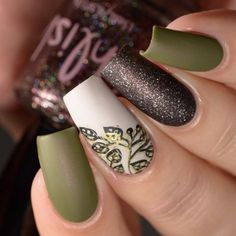 olive brown fall autumn stamping nail art design matte