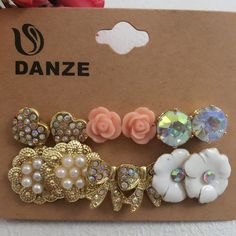 Aliexpress.com : Buy 6 Pairs/lot Fashion Pink Flower Heart & Pearl & Butterfly Crystal Stud Earrings set Women Female Ear Studs Jewelry Brincos Aros from Reliable accessories cross suppliers on DanZe Accessories Store