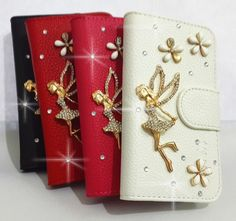 Diamond Bling Angel Girl Flip Leather Card Wallet Case Cover for Samsung Phones