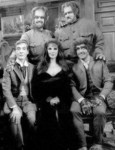 Carry On Screaming (clockwise from the left): Dr Orlando Watt, Oddbod Jr, Oddbod, Sydney Bung after drinking a peculiar potion & Valeria Watt.