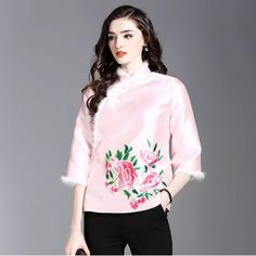 De Fee European Women 2017 Winter New White Rabbit Flash Peony Embroidery Plus Cotton Small Coat Jacket