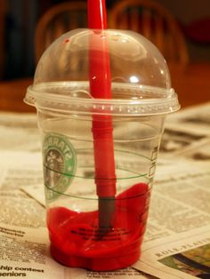 use drink cups with lids for painting - your paintbrush won't fall and spill paint on your surface! ❤❤❤