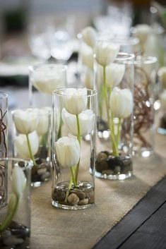 10 DIY Wedding Flower Centerpieces On A Budget - City of Creative Dreams Gorgeous simple centerpieces that could be made with artificial tulips, water solution, rocks in cylinder candle holders. Diy Wedding Flower Centerpieces, Simple Centerpieces, Diy Wedding Flowers, Wedding Table Centerpieces, Diy Flowers, Centerpiece Ideas, Wedding Tulips, Wedding Bouquets, Rustic Flowers