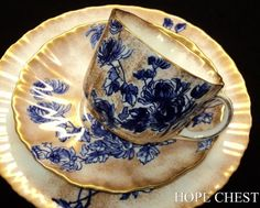 Royal Doulton Antique COBALT Hand Applied gold Tea cup and saucer