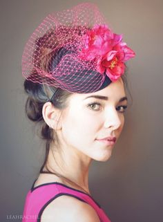 Pink and Black Fascinator Hat, Kentucky Derby Hat, Race Hat, Tocado, Hot Pink, Wedding Hat, by Ruby & Cordelia's Millinery Made to Order