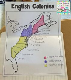 We started out by labeling a map. We colored each of the regions a different color, added a key and then labeled each of the colonies.  Inside each of the interactive foldable graphic organizers, we included things that attributed to the colony's economy,...