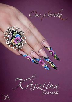 Okay all these super long pointy nails are pretty but? How do you work with them? Are they just for nail art shows etc? Creative Nail Designs, Colorful Nail Designs, Beautiful Nail Designs, Beautiful Nail Art, Creative Nails, Gorgeous Nails, Nail Art Designs, Long Stiletto Nails, Sexy Nails