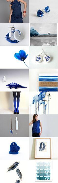 Blue  by Aliquid on Etsy-- #blue #handmade #europe @knittedearrings #polymerclay