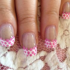Pink polka dot / French mani nail art!