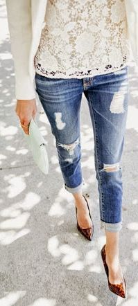 Lace top, white blazer, destructed denim jeans with pointed toe pumps