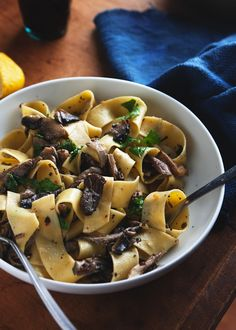 Papardelle with Wild Mushrooms.   This pasta serves up wild mushrooms simply, with a liberal sprinkling of parmesan cheese and parsley.