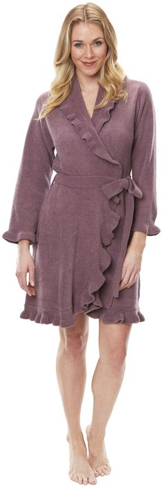 "Fashionably cut just above the knee, this 36"" chenille ruffle robe is warmth without weight, perfect for taking the chill out of a morning. Inside tie and hidden side pockets. Made of 100% Polyester."