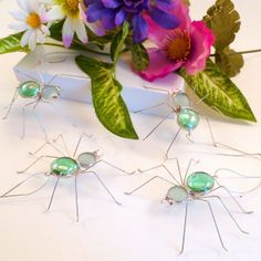 Mint Green Spiders Four Hanging Handmade by SpiderwoodHollow: I'm not usually a big fan of spiders, but these are actually really cute!