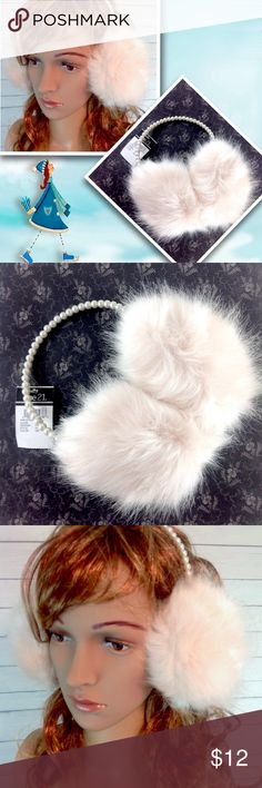 """Rue 21 Blush Faux Fur & Pearl Ear Muffs NWT Brand new with tags! NWT. Gorgeous blush faux fur ear muffs with a beautiful pearl headband. Very unique and girly!  Dress up or go with a """"leather and lace"""" look!   One size fits most.  ✔️PLEASE ask all questions before you purchase! I'm happy to help! 🔹No trades or holds, but I happily consider offers via the Offer Button! 🔹Bundle for best prices. Use bundle button feature or ask for custom bundle!  💙Happy Poshing! Rue 21 Accessories"""