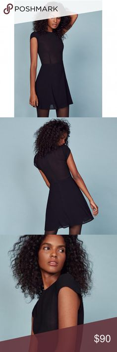 Reformation Black Millie Dress Reformation black Millie dress. Brand new never worn. Sheer upper and fitted lower. Zipper down the back. Reformation Dresses Mini