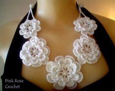 Crochet Necklace Pattern, Crochet Bracelet, Crochet Earrings, Fabric Necklace, Fabric Jewelry, Freeform Crochet, Tunisian Crochet, Crochet Leaves, Crochet Flowers