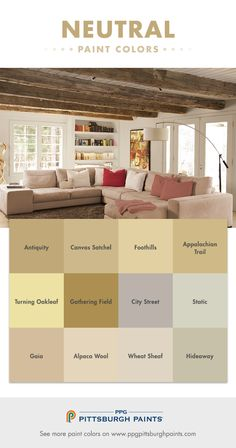 Neutral paint colors cover a wide spectrum – from white to, grey, to beige, and in-between. They are soft colors that tend to work well in many different settings. Neutrals with a lot of gray tend to be chameleons – changing in different lights and with different colors next to it – like furniture or window treatments.