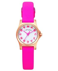 Marc by Marc Jacobs Watch, Women's Dinky Knockout Pink Leather Strap 21mm MBM1237 - All Watches - Jewelry & Watches - Macy's
