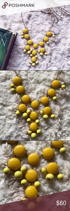 J. Crew Yellow Bauble Necklace Here's a classic staple in a sunny shade. | Width (from leftmost bauble to rightmost bauble): 8 inches J. Crew Jewelry Necklaces