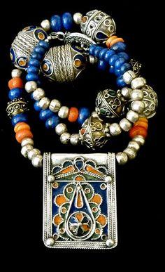 MOROCCAN Necklace - Tribal Necklace - Enamelled Pendant - Lapis Lazuli Gemstones - Berber Silver Necklace. $575.00, via Etsy.