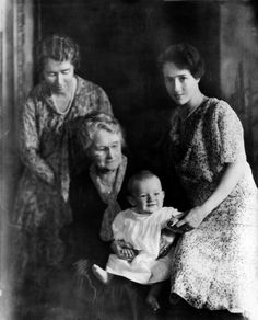 The Lindbergh Baby with mother, grandmother, and great-grandmother