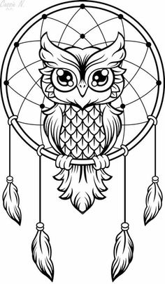 Owl Dream Catcher, Dream Catcher Tattoo, Dream Catcher Drawing, Dream Catcher Painting, Dream Catcher Clipart, Dream Catcher Mandala, Dream Drawing, Owl Coloring Pages, Coloring Books