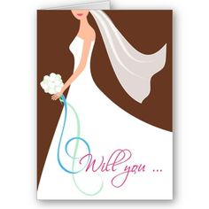 Will You? Custom Bridesmaid Card - Chocolate  Bridesmaid invitation - Be my bridesmaid  Brides ... Ask your friends to be in your wedding party without putting them on the spot with this cute and trendy bridesmaid card. Inside text can be fully customized with your message.