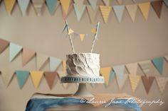 Plain rustic white cake.  Cake banner.  Cake Smash Photographer Erie, PA
