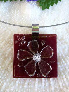Fused glass flower pendant fused glass jewelry by FoxWorksStudio, $30.00