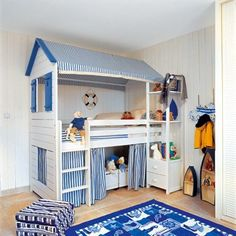 Ideas to hack the IKEA Kura Bed. A roundup by Grosgrain. So many cute ideas - including a firetruck one.: Ideas to hack the IKEA Kura Bed. A roundup by Grosgrain. So many cute ideas - including a firetruck one. Kura Ikea, Ikea Bunk Bed Hack, Ikea Loft, Cool Bunk Beds, Kids Bunk Beds, Loft Spaces, Kid Spaces, Bunk Bed Designs, Bedroom Designs