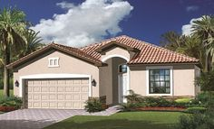 Lennar Homes The Fiorum at the Promenade West Fort Myers FL - Capri Elevation 'C' New Homes For Sale, Fort Myers, Real Estate Marketing, Naples, Venice, Building A House, Florida, Mansions, House Styles