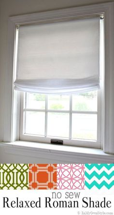 Easy window treatments to make. No Sew Relaxed Roman Shades made using a vinyl roller shade. Diy Window Shades, Diy Roman Shades, Roman Shades Kitchen, Farmhouse Roman Shades, Bedroom Window Dressing, Relaxed Roman Shade, Bathroom Window Treatments, Diy Blinds, Blinds Ideas