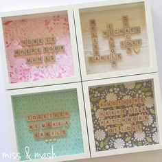 Personalised Scrabble Family Name Frame - Wall Art Birthday Gift Present Scrabble Letter Crafts, Scrabble Art, Scrabble Letters, Scrabble Tiles, Homemade Gifts For Mom, Diy Gifts, Mothers Day Scrabble, Hobbies And Crafts, Crafts To Make