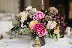 Mid-summer. Garden roses, ammi majus, stock, astrantia, cafe au lait dahlias. Photo by Julie Harmsen Photography.