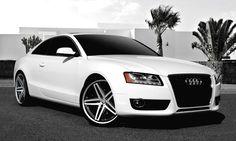 "Lexani Wheels, the leader in custom luxury wheels.  2011 White Audi A5 with 20"" machine and black R-Five."