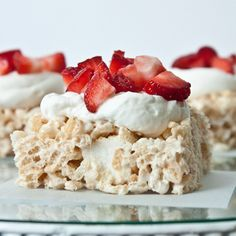 Please tell me you're swooning at the idea of a rice krispie treat filled with chunks of angel food cake topped with fresh whipped cream and strawberries?  They might just be the best rice krispie treats I've ever had.  Believe it or not, I can't ever seem to make good rice krispie treats, they always...