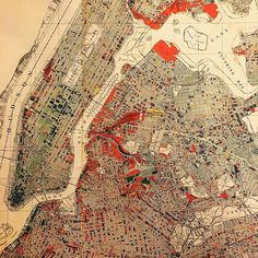 """""""Graphic presentation of data"""" from the 1934 Real Property Inventory Report, published by LaGuardia's Committee on City Planning, depicting the """"predominant non-residential type"""" of structure..."""